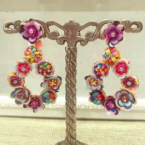 Floral Rhinestone Chandelier Earrings